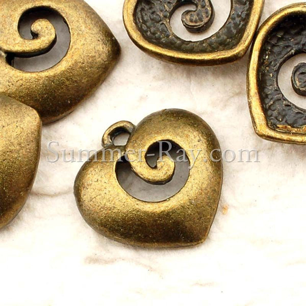 Tibetan Antique Bronze Whirling Heart Charm Pendant