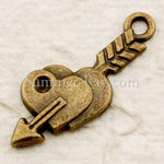Tibetan Antique Bronze Double Arrowed Heart Charm Pendant