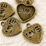 Tibetan Antique Bronze Heart with Love Charm Pendant