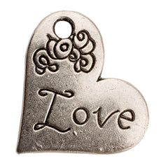 Tibetan Silver Heart with Love Charm Pendant
