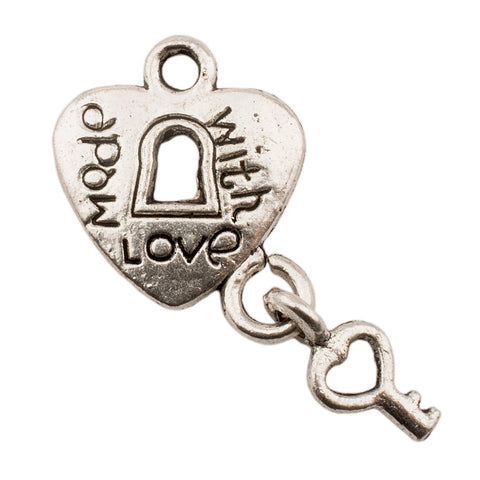 Tibetan Silver Heart Lock with Key Charm Pendants