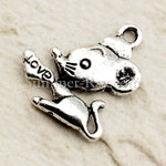Tibetan Silver Mouse with Heart Charm Pendant