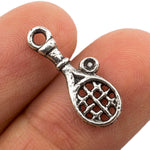Tibetan Silver Tennis Racket and Ball Charm Pendant