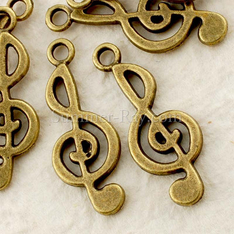 Tibetan Antique Bronze Treble Clef Charm Pendant