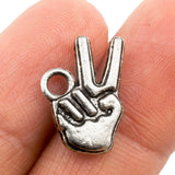 Tibetan Silver Victory Hand Sign Charm Pendant