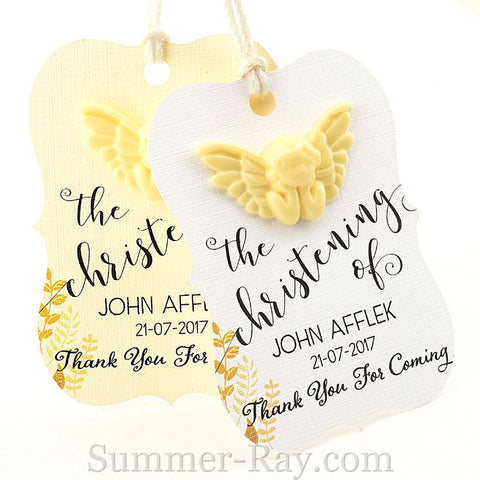 Personalized Angel Little Violin Christening Gift Tag