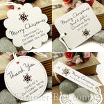 Personalized White Christmas Gift Tags with Snowflake Cutout