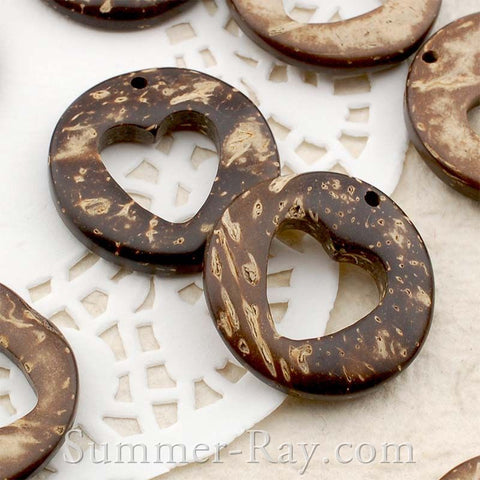 Coconut Shell Round Heart Buttons