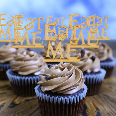 Wooden Eat Me Cupcake Topper Alice in the Wonderland Cupcake Topper