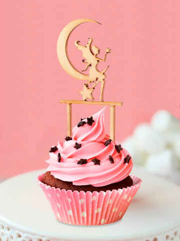 Wooden Fairy on the Moon Cupcake Topper Baby Shower Birthday Party Muffins