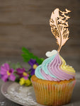 Wooden Feather with Birds Cupcake Topper Muffin Topper for Tea Party