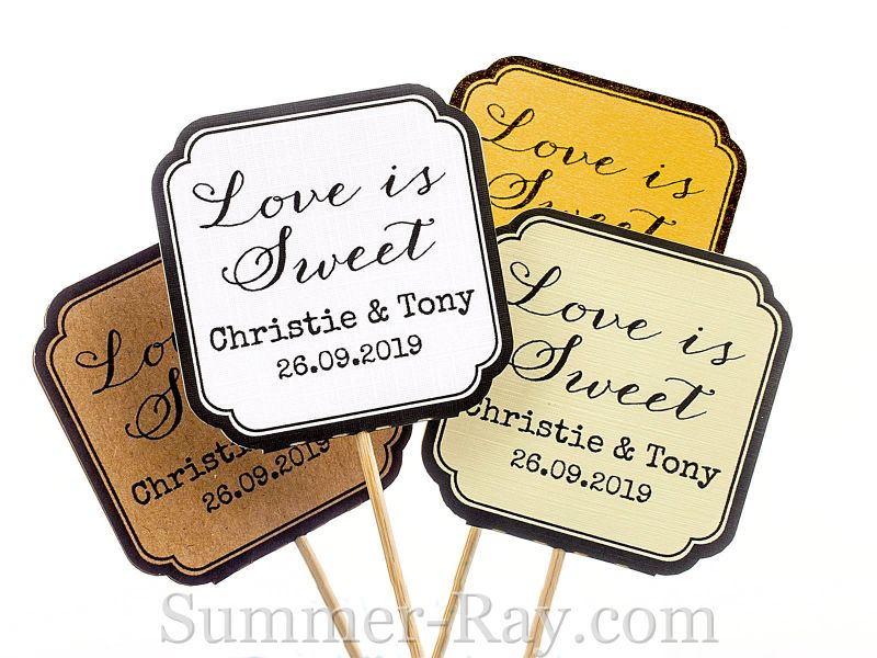 Diy personalized double sided wedding cupcake toppers love is sweet diy personalized double sided wedding cupcake toppers love is sweet junglespirit Images