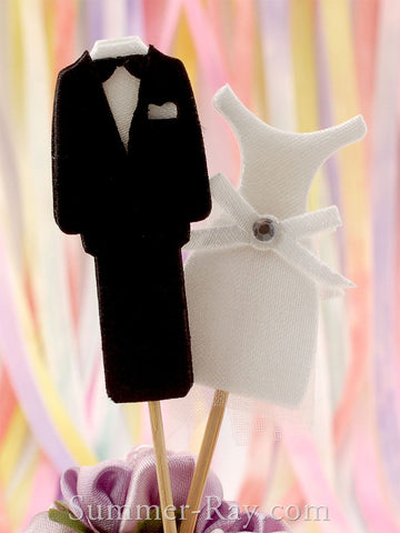 Double Sided Tuxedo and Wedding Gown Wedding Cupcake Toppers