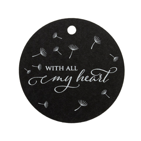 With All My Heart Dandelion Theme Round Favors Tags Wedding Gift Tags