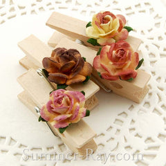 Wooden Peg with Mulberry Roses