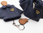 Handmade Women Denim Key Pouch Key Chain Holder with Key Holder Pull Strap