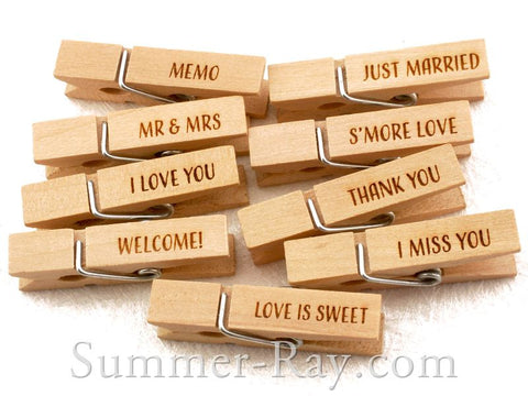 Wooden Peg Engraved for Weddings