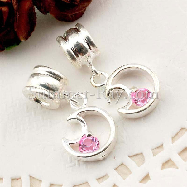 Center Threaded Spacer Moon Dangle Beads