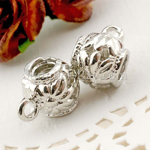 Center Threaded Spacer Flower Sphere Beads with Loop