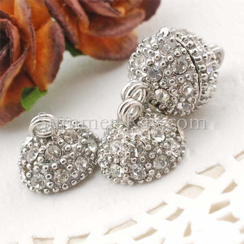 Rhinestone Studded Metal Bead Magnetic Clasp - 2 or 10 pairs