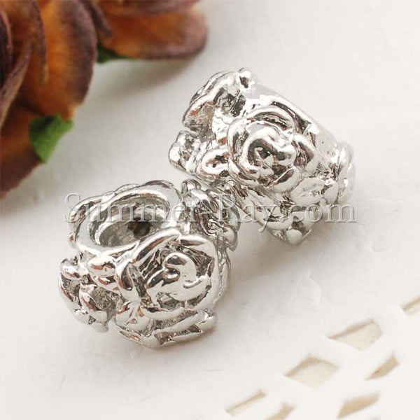 Center Threaded Spacer Rose Beads