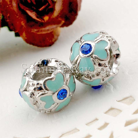 Center Threaded Spacer Blue Flower Beads