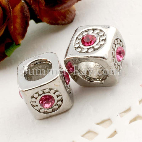 Rhinestone Studded Metal Bead Sunny Day - 2 or 10 pieces