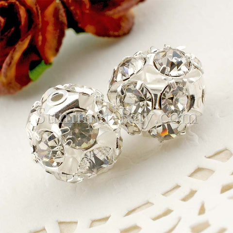 Rhinestone Studded Metal Bead Twinkle Crystal - 2 or 10 pieces