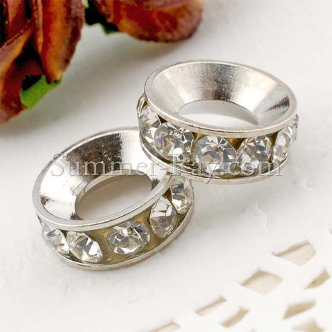 Rhinestone Studded Metal Bead Ring - 2 or 10 pieces