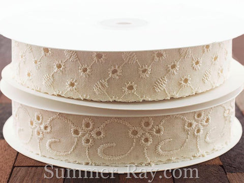 Cotton Eyelet Ivory Ribbon Lace Trim - 25 yards