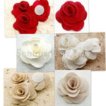 Fabric Roses 60mm - 6 pieces