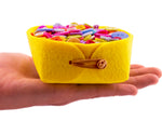 Mini Felt Jewelry Organizer Felt Baskets with Suede Ties Multi Color