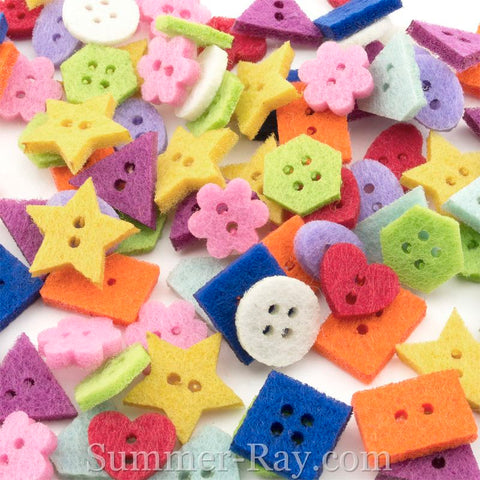 Felt Buttons Multi Color and Design - 200 pieces