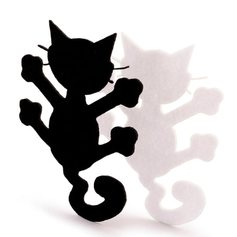 Black and White Laser Cutout Felt Cat Embellishment Scrapbooking Craft Home Party Decoration