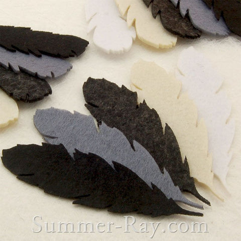 Monochrome Feather Felt Cut Out