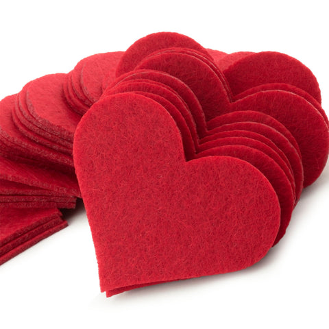 Red Felt Heart Laser Cutout Scrapbooking Embellishment in 2mm Felt