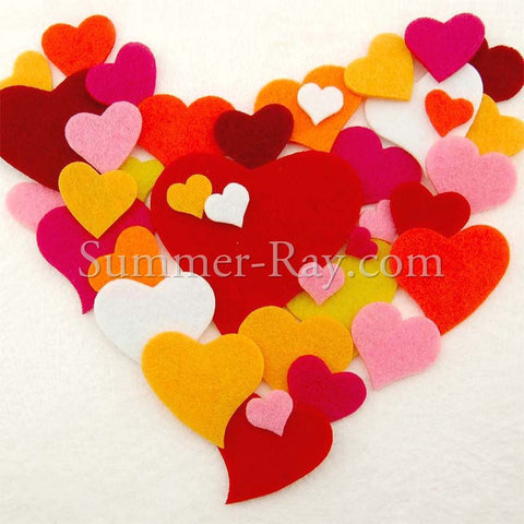 Felt Cut Out - Multi Sizes Heart 70 pieces