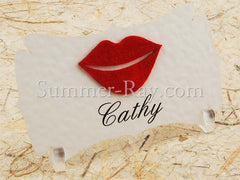Personalized Felt Mustache and Lips Place Card - 20 to 140 pieces