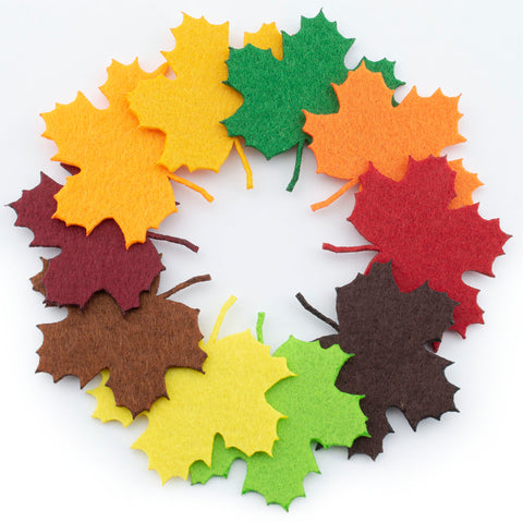 Felt Maple Leaves Laser Cutout Embellishment Green Brown Autumn Shades
