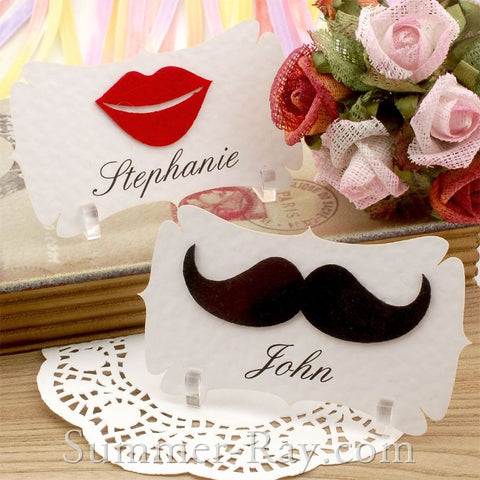 Personalized Felt Mustache and Lips Place Card - 10 to 100 pieces
