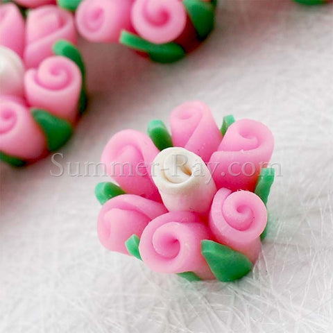 Fimo Polymer Clay Pink Flower Bead