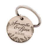 Personalized Laser Engraved Double Sided Round Formica Wedding Favor Keychain