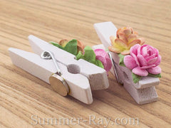 White Wooden Peg Fridge Magnet with Handmade Mulberry Flowers