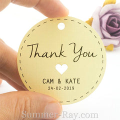 Personalized Cream Wedding Favor Tags/ Thank You Tags/ Gift Tags with Thread