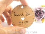 Personalized Brown Kraft Wedding Favor Tags/ Thank You Tags/ Gift Tags with Twine