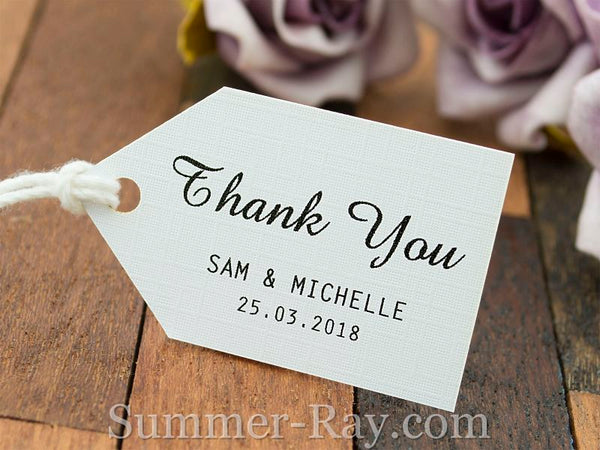 Personalized White Wedding Favor Tags Thank You Gift With Thread