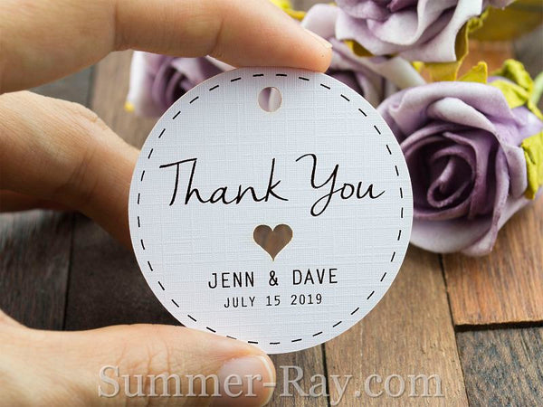 Wedding Favour Gift Tags: Personalized White Wedding Favor Tags/ Thank You Tags