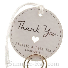 Personalized White Wedding Favor Tags/ Thank You Tags/ Gift Tags with Thread