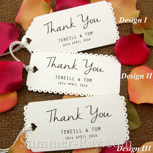 Personalized White Vintage Lace Wedding Favor Tags Thank You Tags
