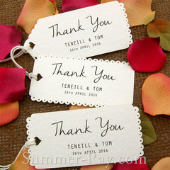 Personalized White Vintage Lace Wedding Favor Tags/ Thank You Tags/ Gift Tags with Thread